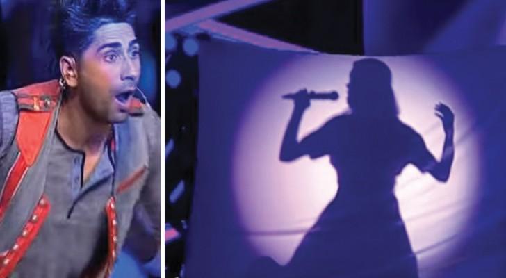 Eine wunderschöne weibliche Stimme beginnt zu singen, aber als das Tuch fällt...ist alles anders!