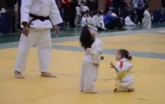 Little girls in a Judo fight