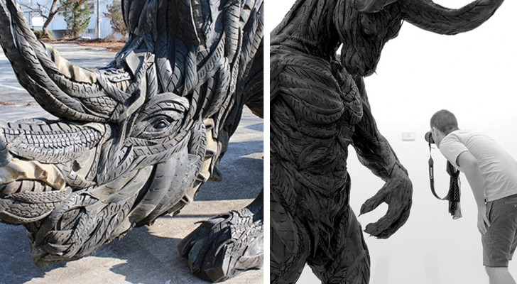 Quando gli pneumatici diventano arte: le imponenti sculture