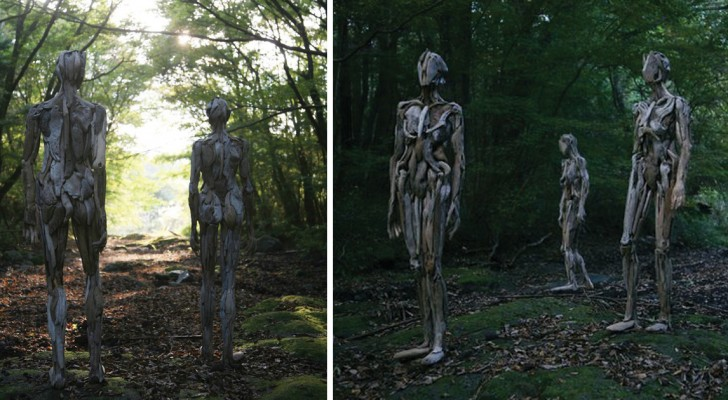 Tanto belle quanto inquietanti: scoprite le sculture in legno disseminate nelle foreste del Giappone