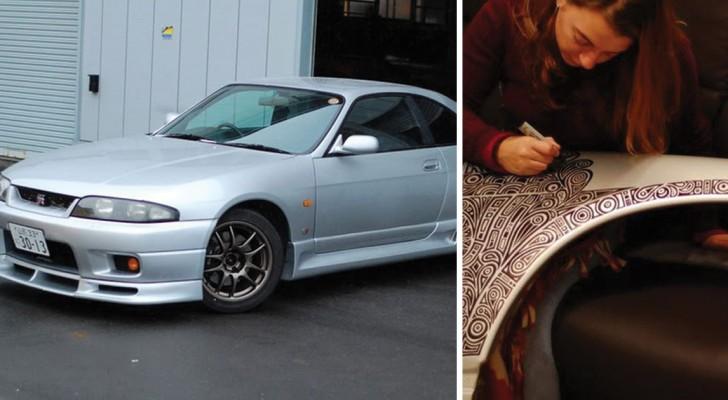 Compra un'auto GTR e lascia che la moglie la decori con il pennarello: il risultato è magnifico