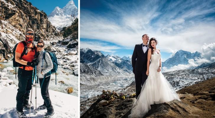 Drie weken klimmen om te kunnen trouwen op de Everest leveren adembenemende foto's op van de romantische expeditie