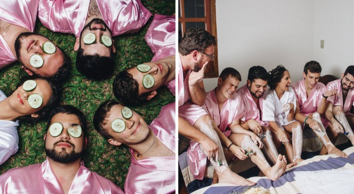 La mariée étudie en génie informatique et tous ses amis sont de sexe masculin: les photos avec les « demoiselles d'honneur » sont trop sympas