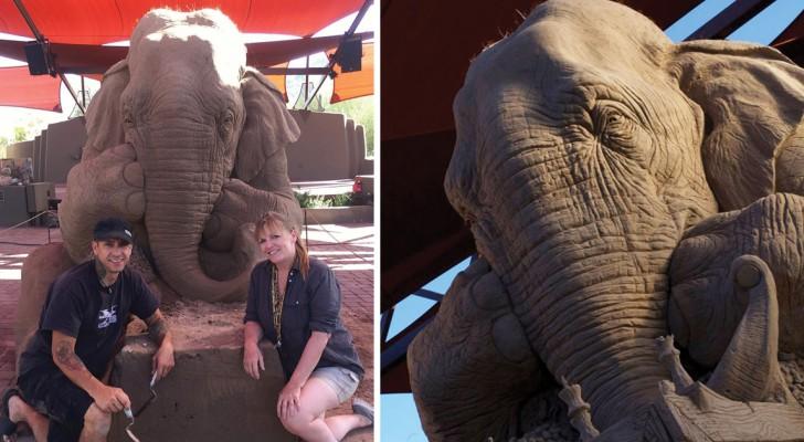 Twee kunstenaars maken een indrukwekkende olifant van zand en het eindresultaat overtreft iedere verwachting