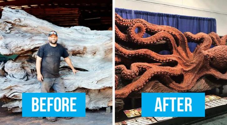 Un uomo trasforma un albero caduto in un polpo gigantesco usando una motosega