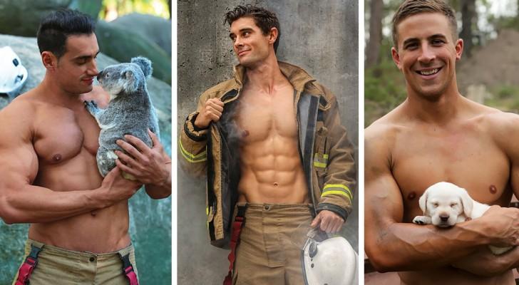 I pompieri australiani posano con gli animali per un calendario: le foto sono decisamente bollenti!