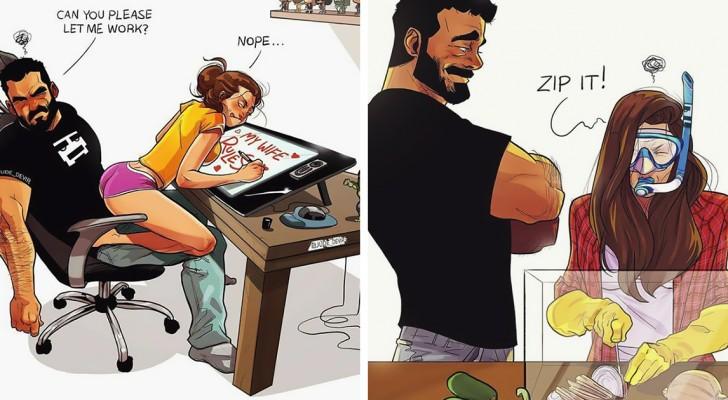 Un illustratore e comico trasforma in disegni la sua vita con la moglie