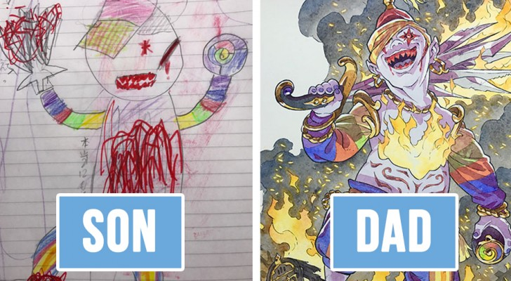 Il papà trasforma gli scarabocchi del figlio in personaggi di fumetti: il risultato è sorprendente!