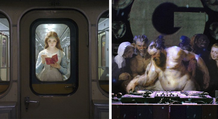 Inserisce i personaggi dei quadri antichi nelle scene di vita moderna: il risultato è assolutamente curioso