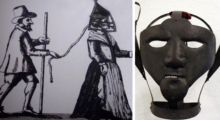 Het Schandmasker, een martelwerktuig waarmee heksen gewoonlijk werden gestraft in de 16e eeuw