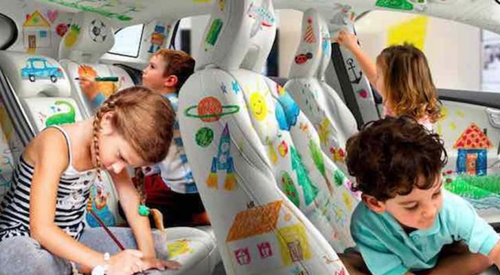 Hier das erste Auto, das man innen ausmalen kann: So sind die Kinder ruhiger und...natürlich auch die Eltern!