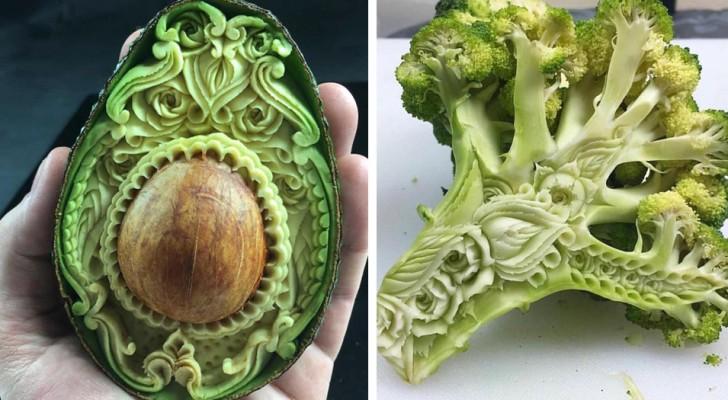 Deze jonge Italiaanse kunstenaar maakt van fruit of groente een geraffineerd versierd kunstwerk