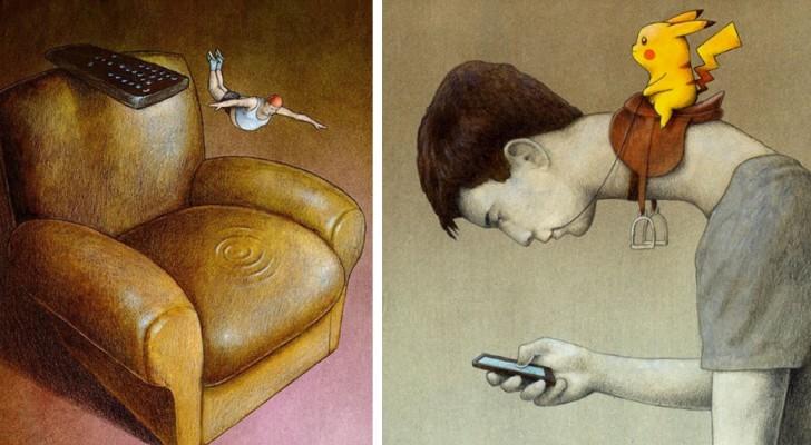 15 graffianti illustrazioni che raccontano la nostra profonda dipendenza dalla tecnologia