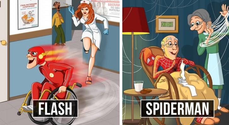 Supereroi... in pensione: una talentuosa disegnatrice ce li mostra sotto una luce nuova e adorabile