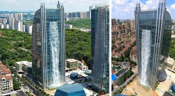 In China gibt es einen Wolkenkratzer, aus dem ein Wasserfall hervorgeht: aber was die Touristen fasziniert ist, wieviel es kostet ihn zu betreiben