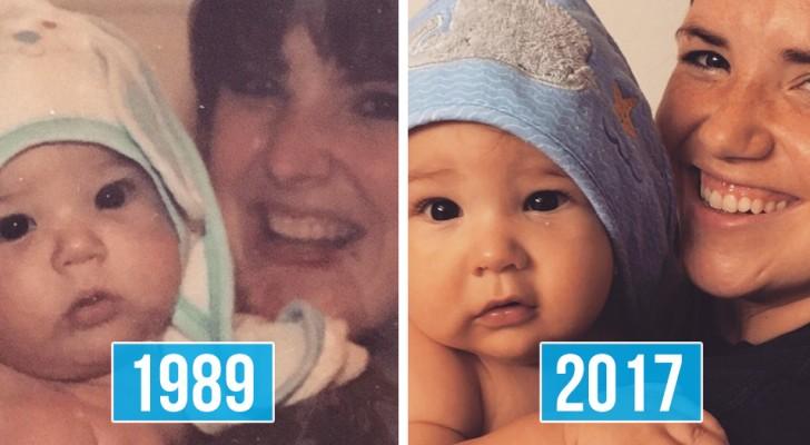 Familienfotos im Vergleich: Die Ähnlichkeit zwischen Eltern und Kindern ist surreal.
