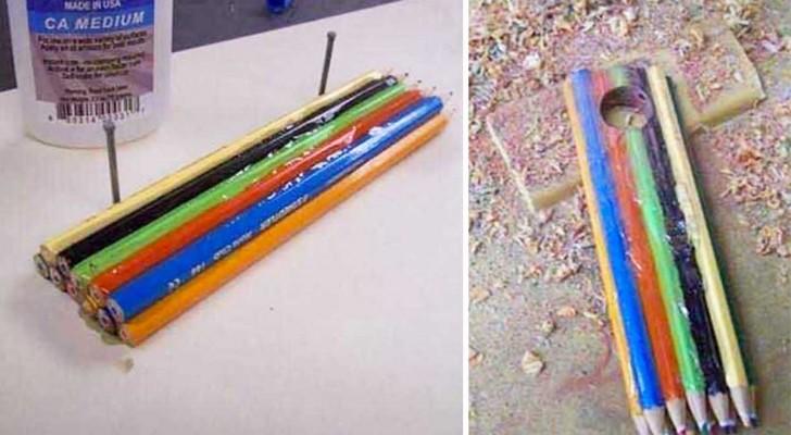 Il achète une boîte de crayons de couleur et réalise un produit artisanal très sympa