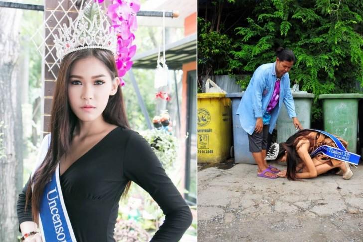 Miss Thaïlande remercie à genoux sa mère, qui l'a élevée en ramassant des ordures