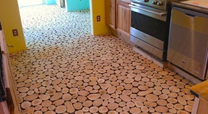 Zo krijg je een mooie vloer van boomstronkschijven zonder een fortuin uit te geven