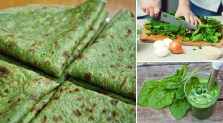 Avec seulement 3 ingrédients, cuisine des crêpes aux épinards... SANS farine