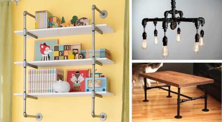 Mensole con tubi idraulici free lampade realizzate con tubi
