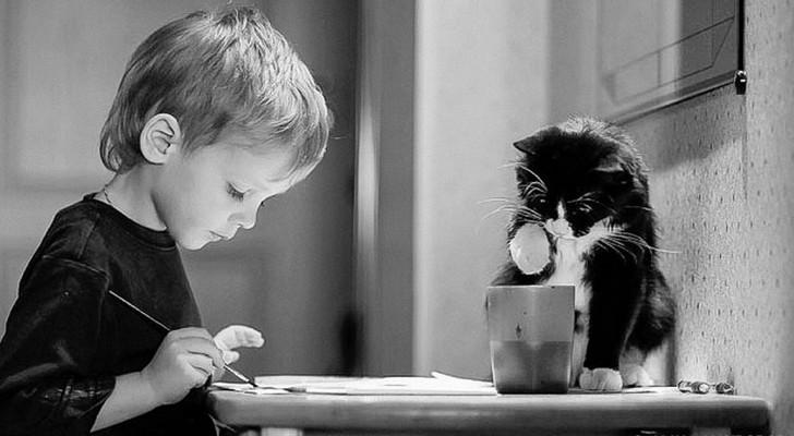 Diese 20 wunderbaren Fotografien zeigen, dass jedes Kind eine Katze haben sollte.