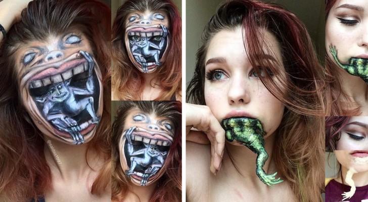 A seulement 19 ans, elle réalise des œuvres de maquillage d'un réalisme stupéfiant