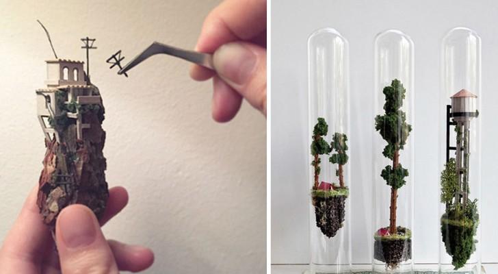 Cette femme utilise plein de matériaux différents pour créer de façon artisanale des petites merveilles..sous verre.